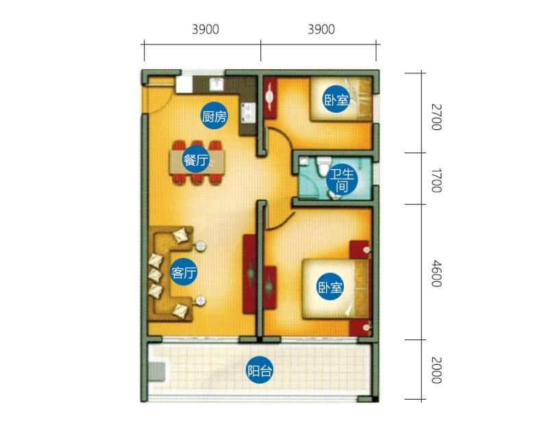 椰风海韵 B-5户型 2房2厅1厨1卫 97㎡