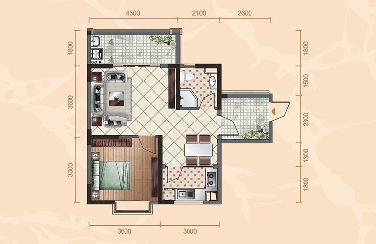 公寓户型2 1室2厅1卫1厨 66㎡