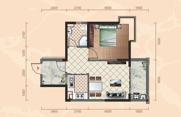 公寓户型1 1室2厅1卫1厨 60㎡