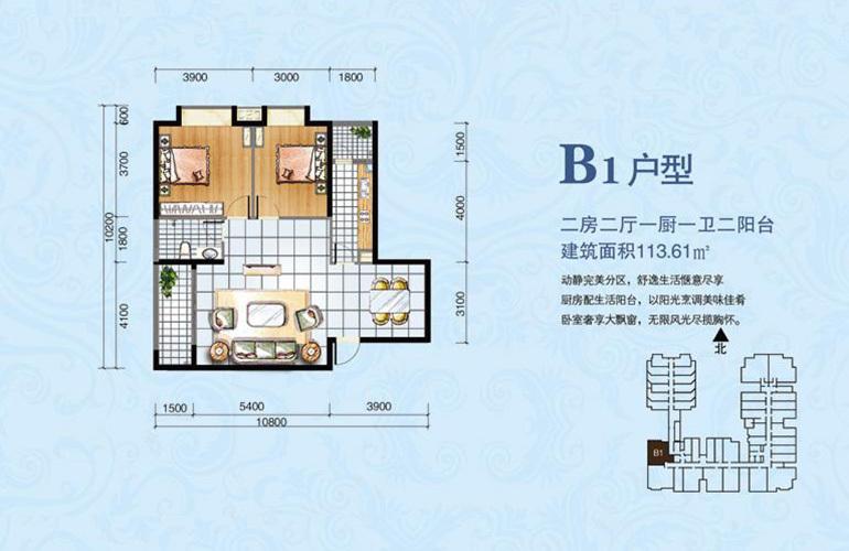 海韵佳园 B1户型 2室2厅1卫1厨 建面113.61㎡