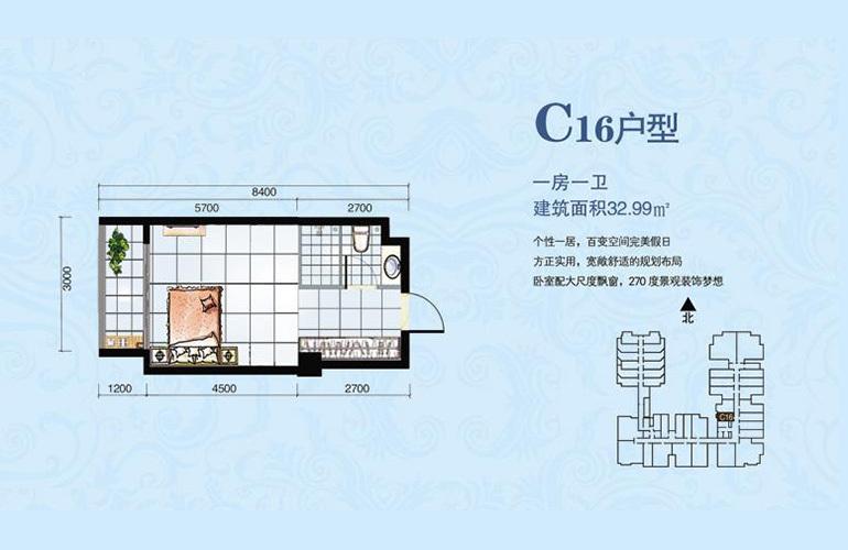 海韵佳园 C16户型 1室0厅1卫厨 建面32.99㎡