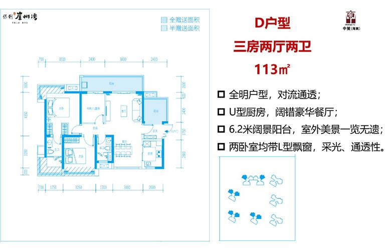 D户型 3室2厅2卫 建面113㎡