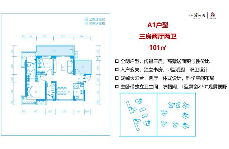 A1户型 3室2厅2卫 建面101㎡