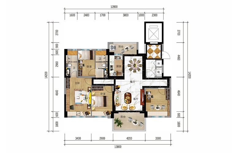 碧桂园十里繁花 YJ125户型 4室2厅2卫 建面129㎡