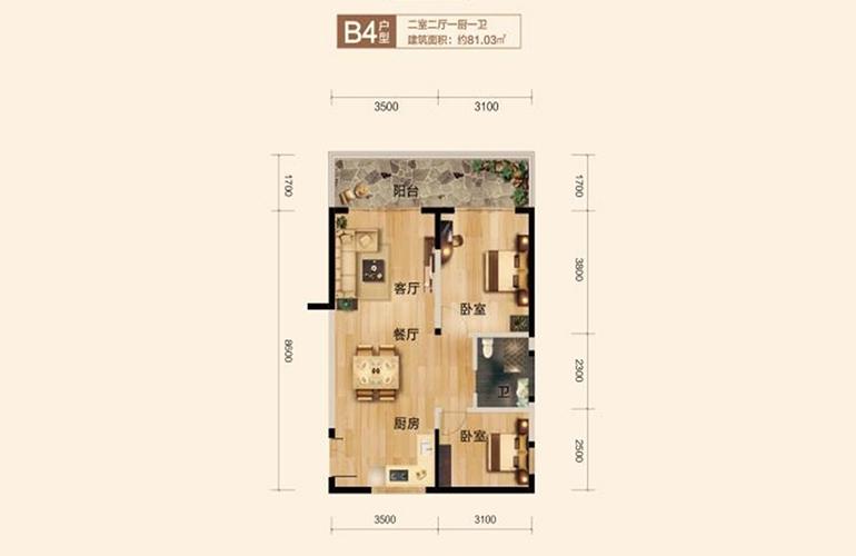 博鳌珊瑚湾 B4户型 2室2厅1卫1厨 建面81.03㎡