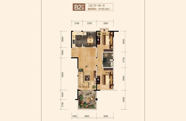 博鳌珊瑚湾 B2户型 2室2厅1卫1厨 建面100.56㎡