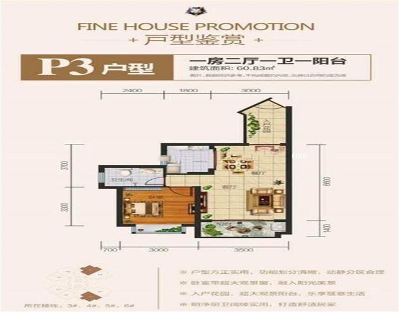 佳龙蓝地球 P3户型 1室2厅1厨1卫 60.83㎡