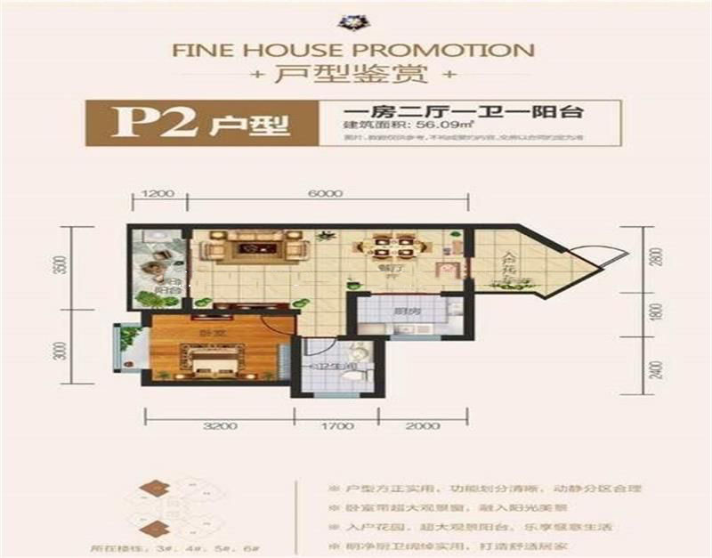 佳龙蓝地球 P2户型 1室2厅1厨1卫 56.09㎡