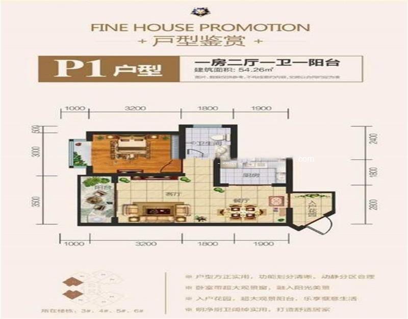 佳龙蓝地球 P1户型 1室2厅1厨1卫 54.26㎡