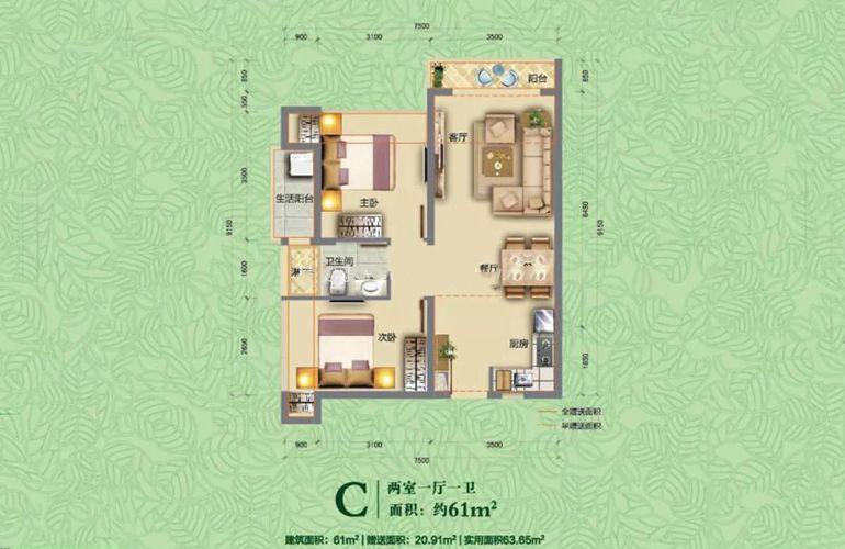 依山云锦 C户型-2室1厅1厨1卫-约61㎡