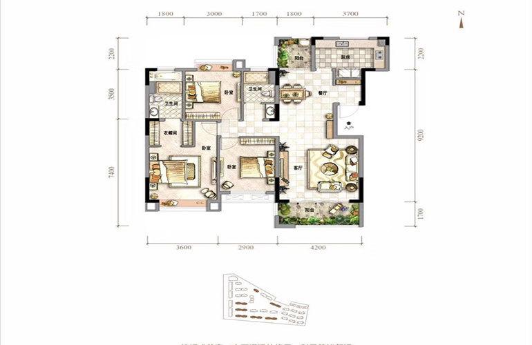 生态府邸 3室2厅2卫 建面126㎡