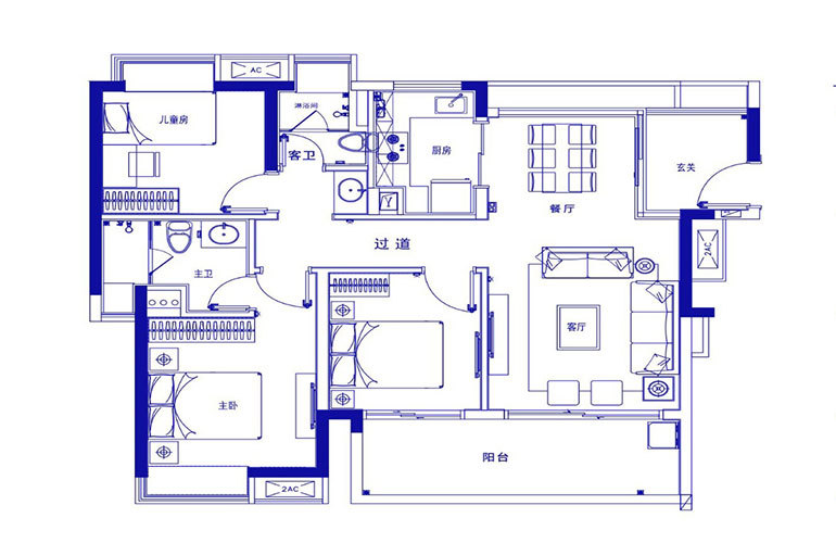 保利浅海 F1户型-3室2厅2厅