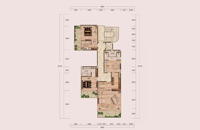 D1户型-5室2厅6卫-第二层