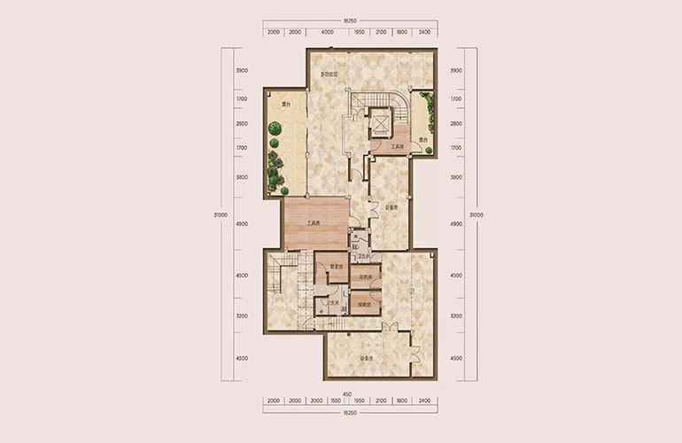 E1户型-5室2厅6卫-下沉式庭院