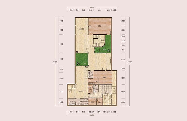 D1户型-5室2厅6卫-下沉式庭院