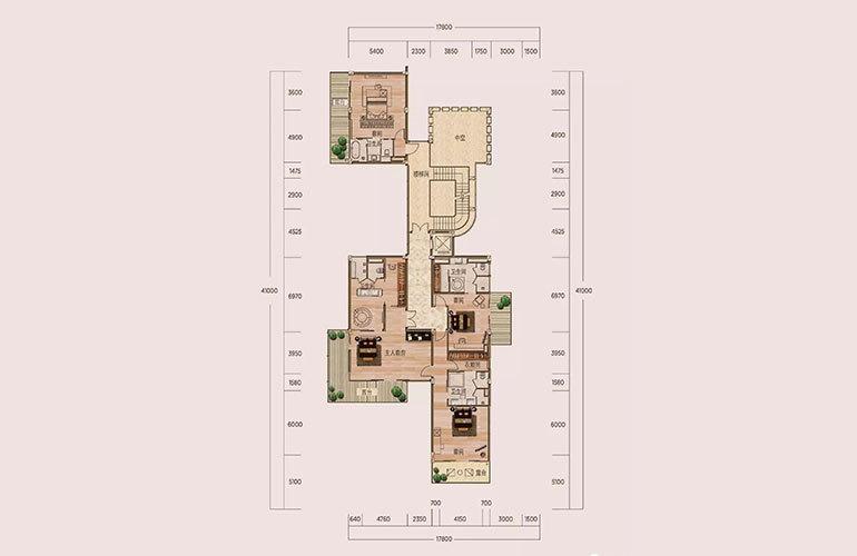 C1户型-6室3厅7卫-第二层