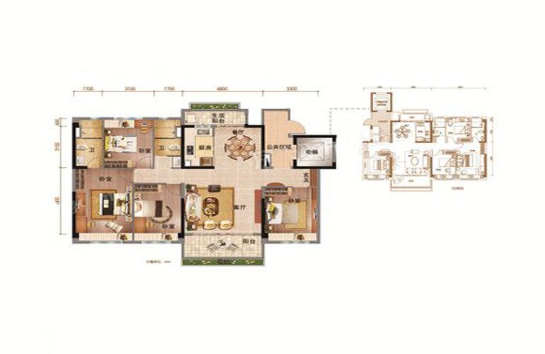 YJ140-A户型 4室2厅2卫 建面144㎡