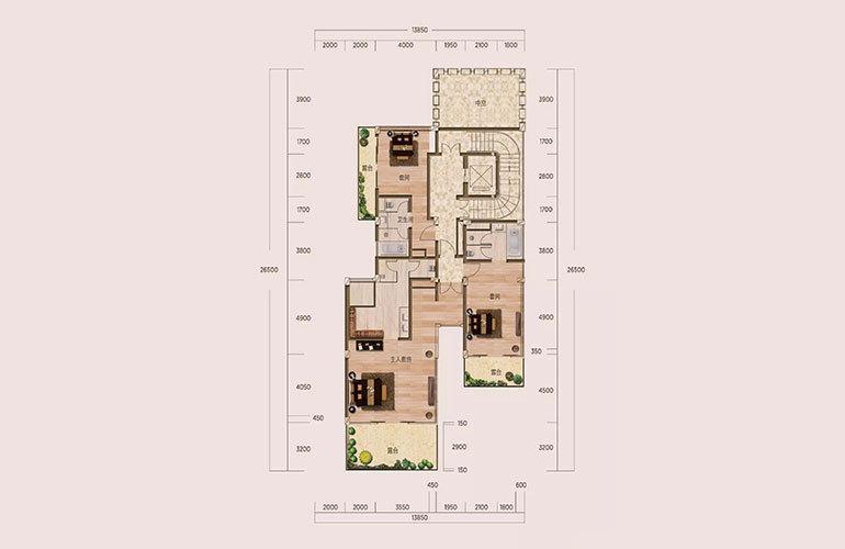 E1户型-5室2厅6卫-第二层