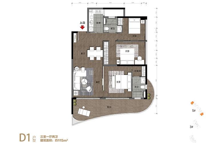华润石梅湾九里 D1户型 3室1厅2卫 建面115㎡