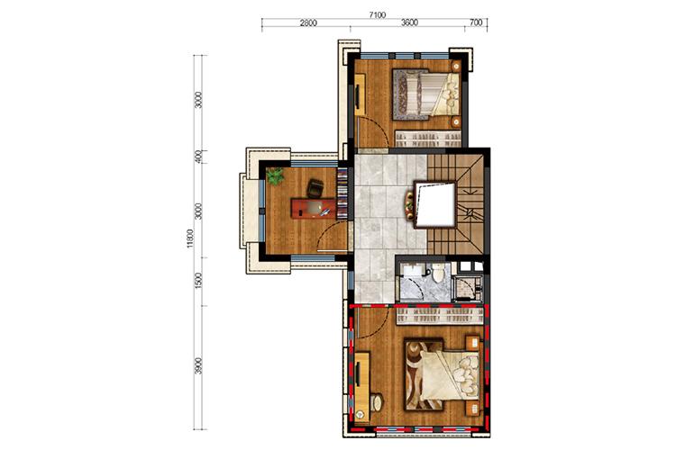 古滇名城别墅 白鹭洲D1户型二层 4室5厅4卫1厨 212㎡