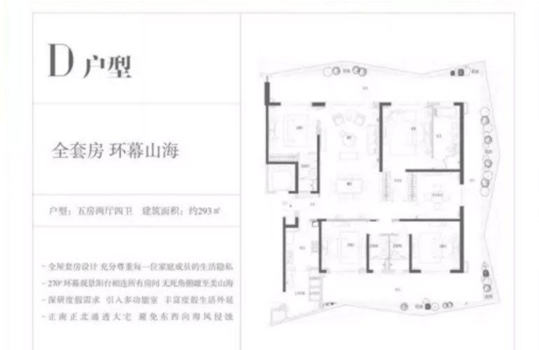 复地鹿岛 D户型 5室2厅4卫 建面293㎡