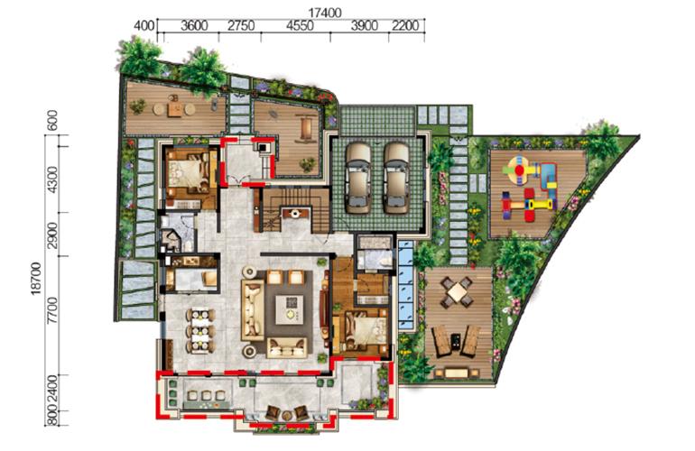 古滇名城别墅 观澜岛A1户型一层 6室5厅5卫1厨 616㎡