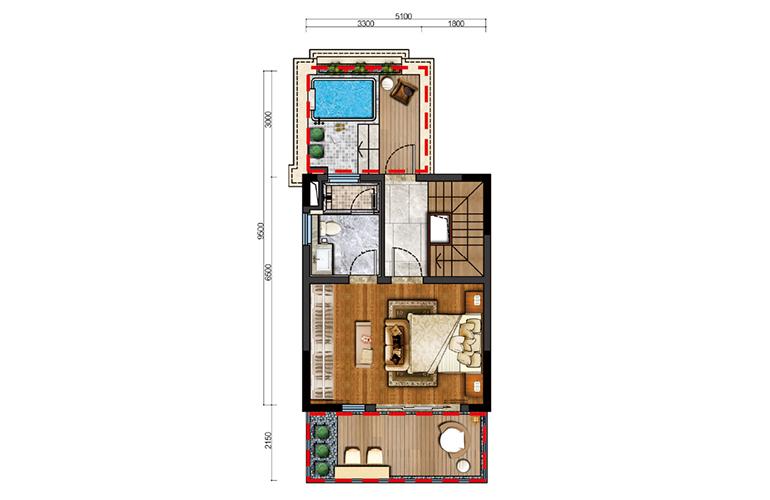 古滇名城别墅 白鹭洲E1户型三层 3室3厅3卫1厨 177-183㎡