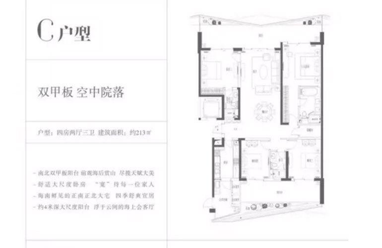 复地鹿岛 C户型 4室2厅3卫 建面213㎡