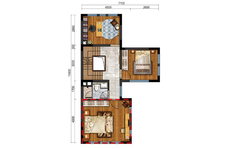 古滇名城别墅 鹿鸣谷B1户型二层 4室5厅4卫1厨 205-217㎡