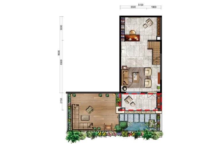 古滇名城别墅 白鹭洲E1户型首层 3室3厅3卫1厨 177-183㎡