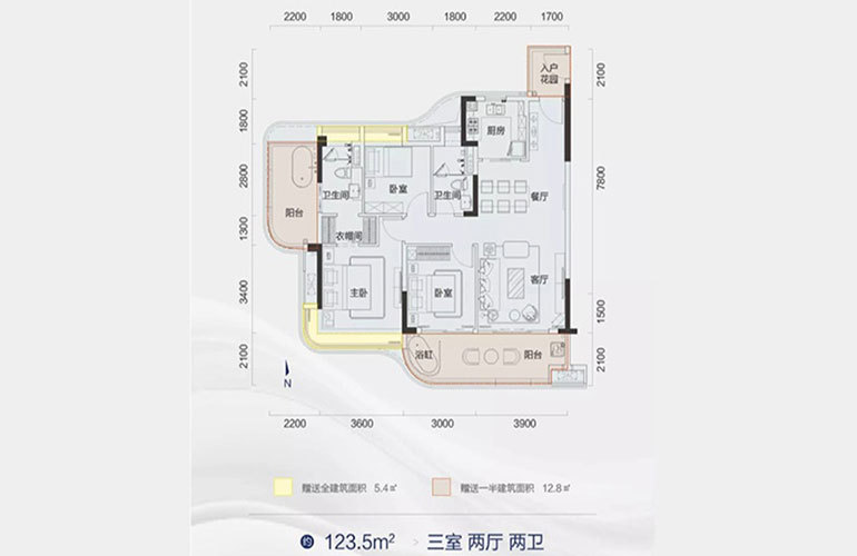 天骄海棠湾 住宅户型 3室2厅2卫 建面123㎡