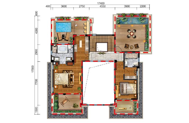 古滇名城别墅 观澜岛A1户型二层 6室5厅5卫1厨 616㎡