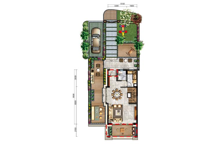 古滇名城别墅 白鹭洲E1户型一层 3室3厅3卫1厨 177-183㎡