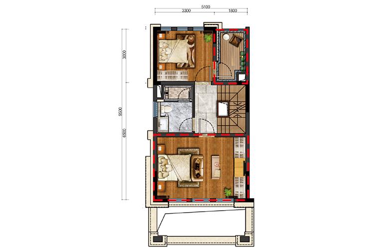 古滇名城别墅 白鹭洲E1户型二层 3室3厅3卫1厨 177-183㎡