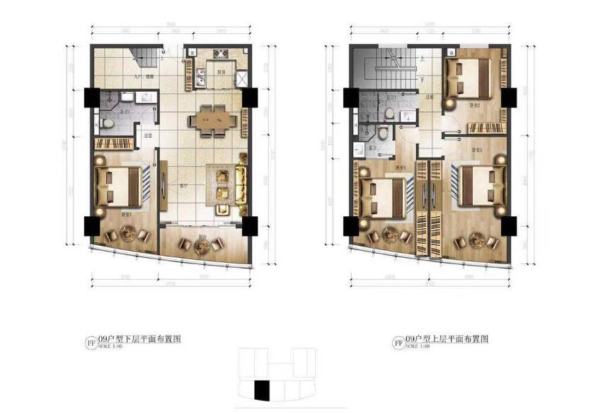华庭国际商务中心 4室2厅3卫  建面94.5㎡