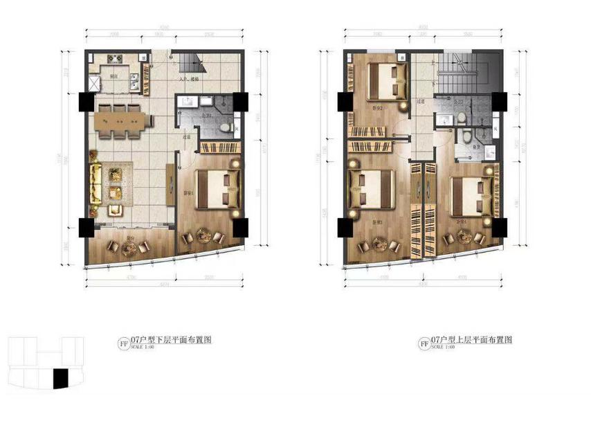 华庭国际商务中心 4室2厅3卫  建面107㎡