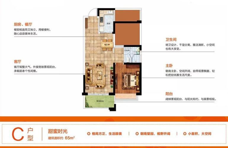 C户型 1室2厅1厨1卫 建面65㎡
