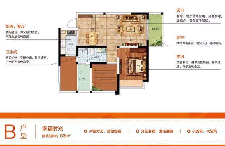B户型 1室2厅1厨1卫  建面63㎡