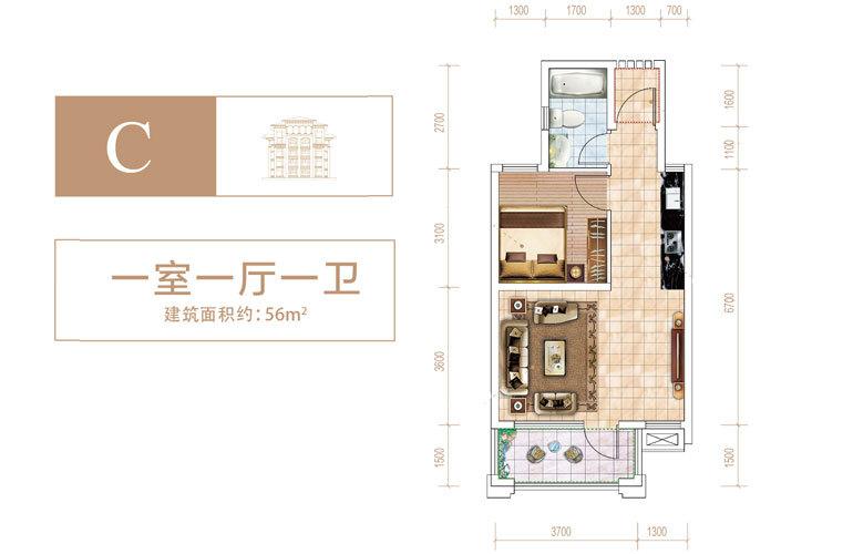 中电海湾国际社区 C户型 一室两厅一卫 建面56㎡
