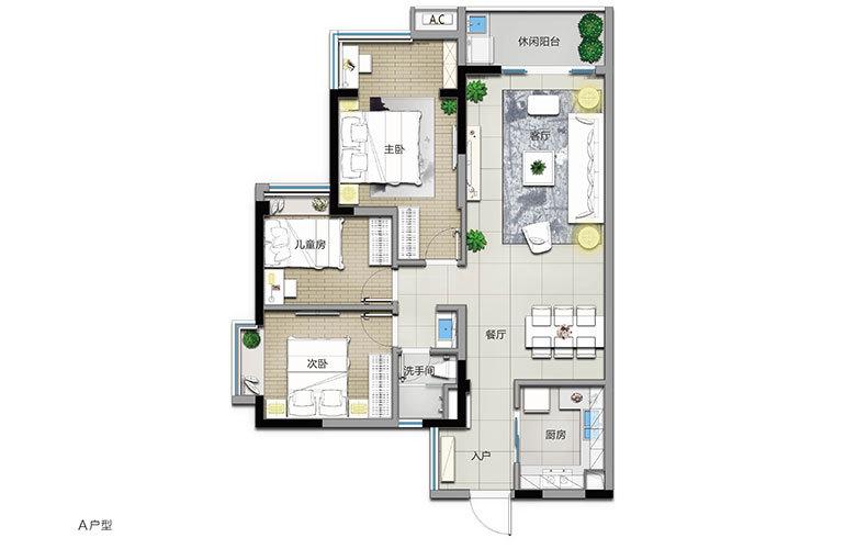 A户型 3室2厅1卫 建面104㎡
