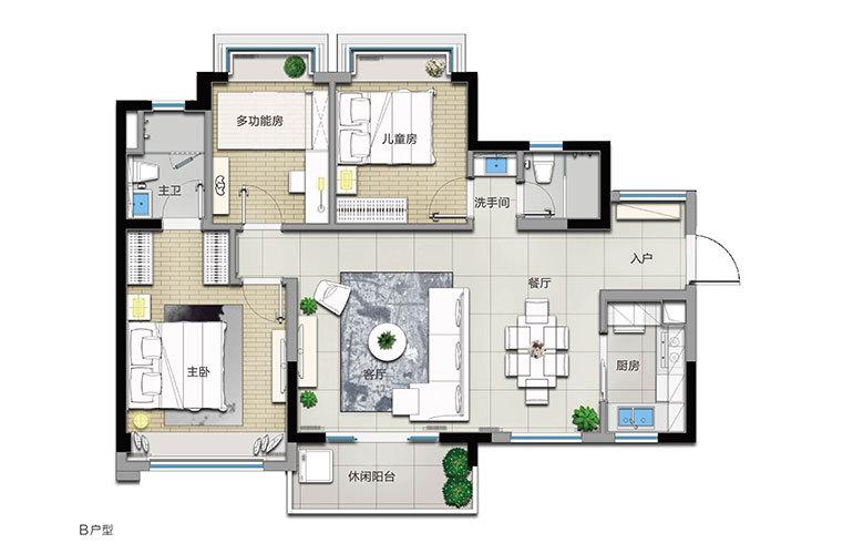 B户型 3室2厅2卫 建面104㎡