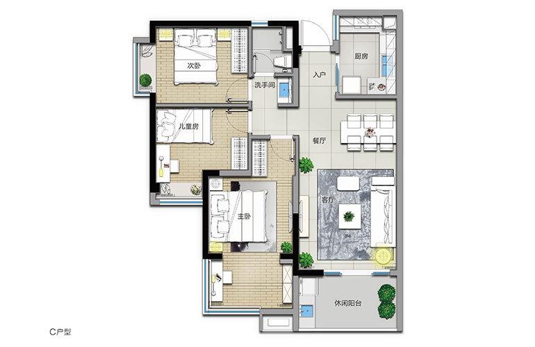 C户型 3室2厅1卫 建面101㎡