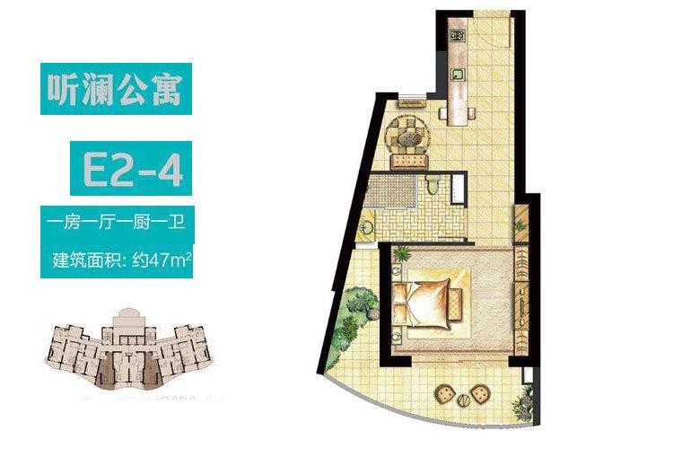 世茂怒放海 E2-4户型 1房1厅1厨1卫 建面47㎡