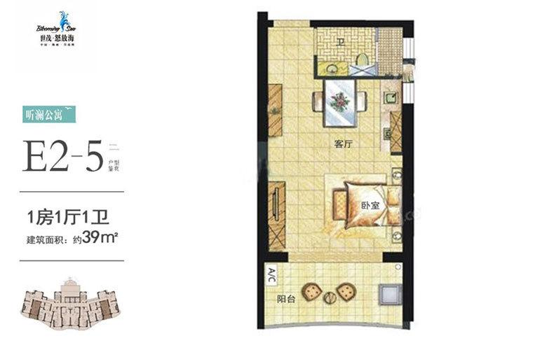 世茂怒放海 E2-5户型 1房1厅1厨1卫 建面39㎡