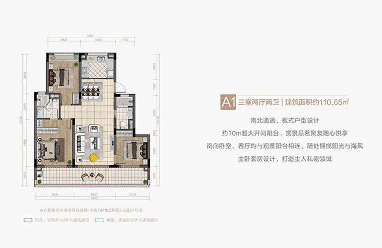 融创·博鳌金湾 A1户型 三室两厅两卫 建面110㎡