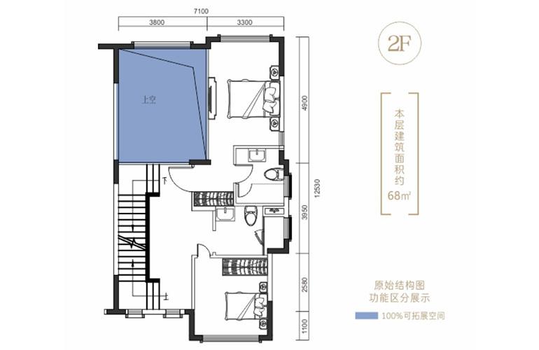 昆明富力湾 澜湖境户型二层 4室2厅4卫1厨 220㎡