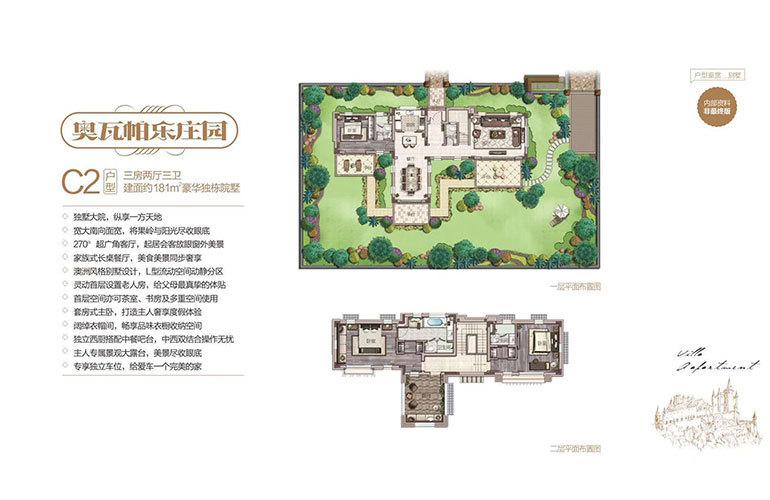 中海神州半岛 别墅C2户型 3室2厅3卫 建面181㎡