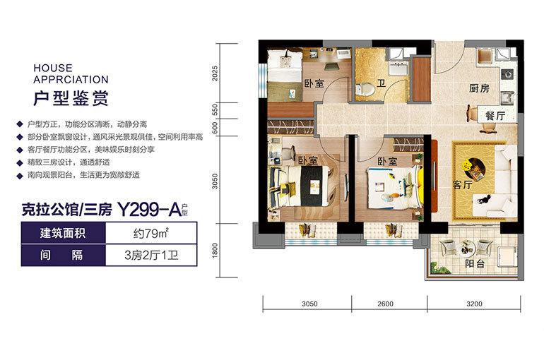 Y299-A户型 三房两厅一卫 建面79㎡