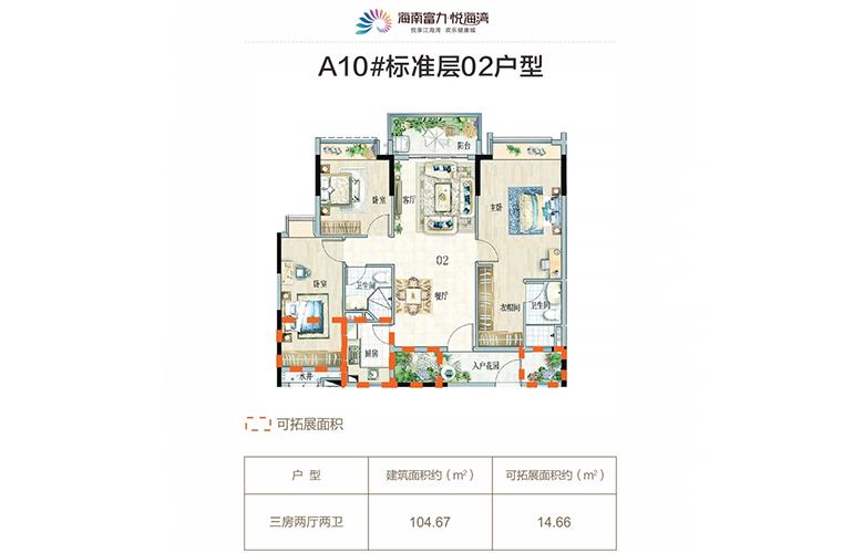 A10 02户型 3室2厅2卫 建面104㎡