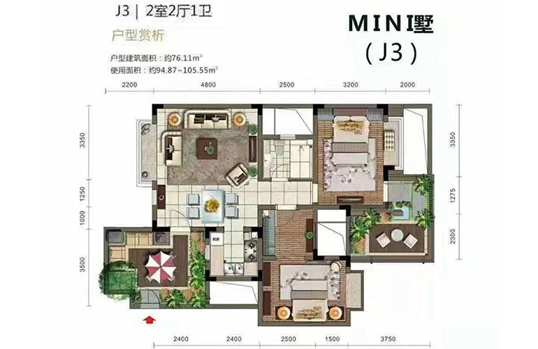 石梅半岛 MINI墅J3 2室2厅1卫 建面76㎡